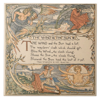 Vintage Walter Crane: The wind and the sun Large Square Tile