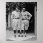 Vintage Walter Johnson and Ty Cobb Baseball Poster