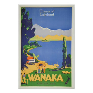 Vintage Wanaka New Zealand Lakeland Travel Poster