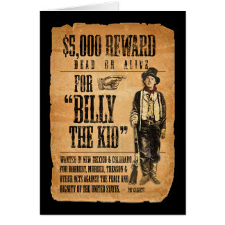 Vintage Wanted / Reward Poster for Billy the Kid Card