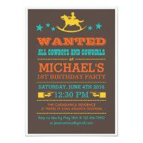Vintage Wanted Western Cowboy Birthday Invitation