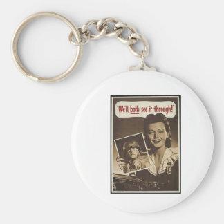 Vintage War Advertisement Basic Round Button Keychain