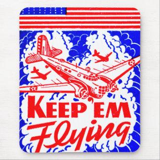 Vintage War Bonds Matchbook Keep Em' Flying Plane Mouse Pads