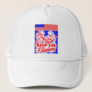 Vintage War Bonds Matchbook Keep Em' Flying Plane Trucker Hat