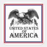 Vintage War Eagle Square Stickers