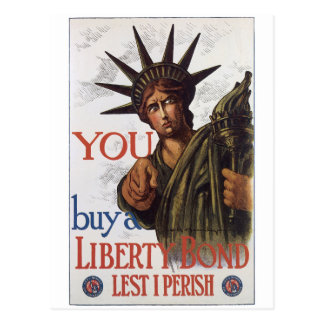 Vintage War Postcards, Liberty Bonds poster Postcard