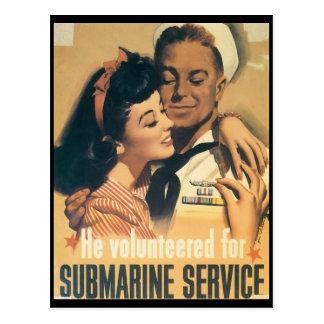 Vintage War Postcards, Submarine service Postcard