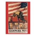 Vintage War Postcards, Teamwork wins Postcard