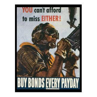 Vintage War Postcards, US Bonds Postcard