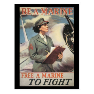 Vintage War Postcards, Woman Marines Postcard