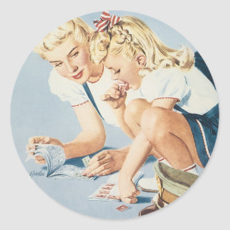 Vintage War Poster - Daddy's in the Army Classic Round Sticker