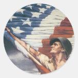 Vintage War Poster - Independence Round Sticker
