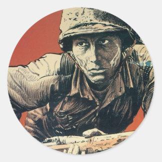 Vintage War Poster - More Milk Sticker! Classic Round Sticker