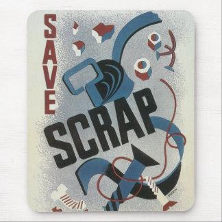 Vintage War Poster Mouse Pad - Save Scrap