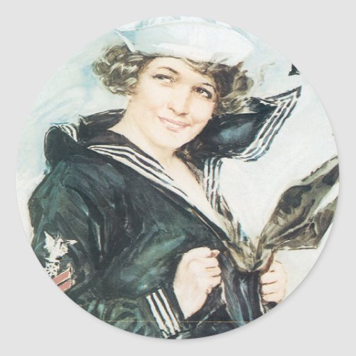Vintage War Poster stickers - Pin up Navy