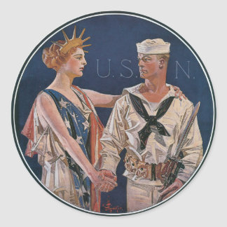 Vintage War Poster stickers - US Calls Navy answer