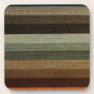 Vintage Warm Autumn Striped Pattern, Earth Tones Drink Coaster