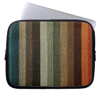 Vintage Warm Autumn Striped Pattern, Earth Tones Laptop Sleeve