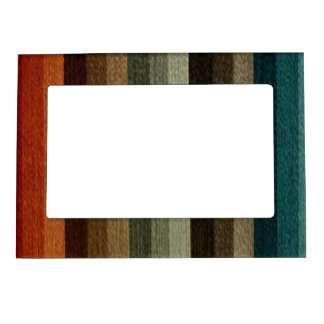 Vintage Warm Autumn Striped Pattern, Earth Tones Magnetic Frame