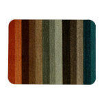 Vintage Warm Autumn Striped Pattern, Earth Tones Magnet