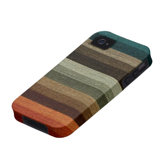 Vintage Warm Autumn Striped Pattern, Earth Tones Vibe iPhone 4 Cover