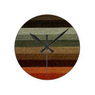 Vintage Warm Autumn Stripes Wall Clocks