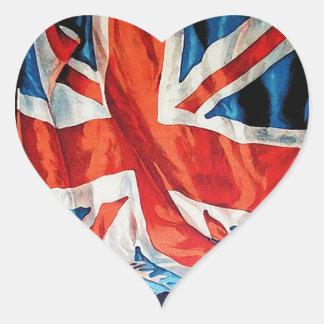 Vintage Wartime Wavy Union Jack British Flag Heart Sticker
