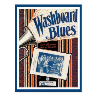 Vintage washboard blues music cover postcard