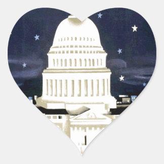Vintage Washington DC Travel Heart Sticker