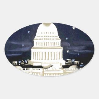 Vintage Washington DC Travel Oval Sticker