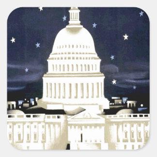 Vintage Washington DC Travel Square Sticker