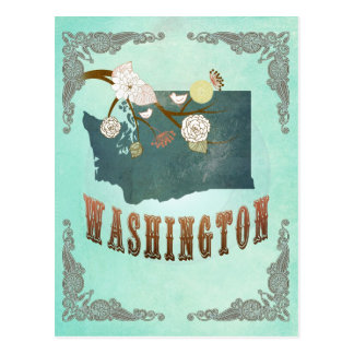 Vintage Washington State Map – Turquoise Blue Postcard