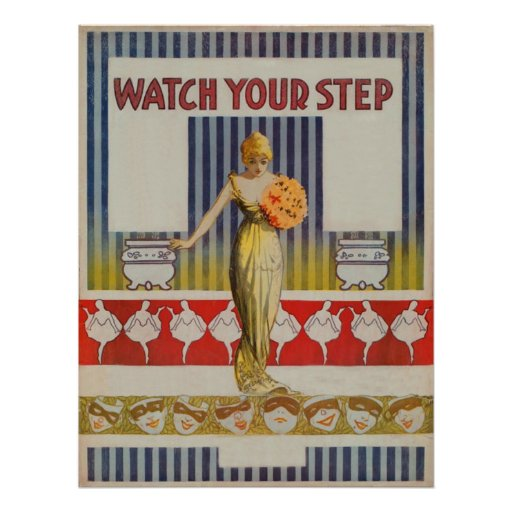 """Vintage """"Watch Your Step"""" Poster"""