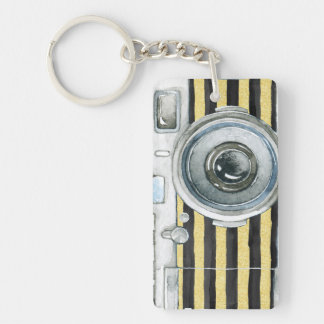 Vintage water color camera keychain