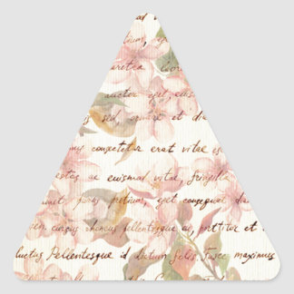 Vintage,water color,floral,hand writtend,victorian triangle sticker