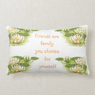 Vintage Water Lilies Image - Friendship Quote Lumbar Pillow