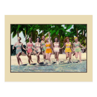 Vintage water nymphs tropical beach Florida Postcard