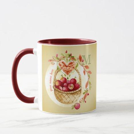 Vintage Watercolor Apple Basket Fall Wreath Heart Mug