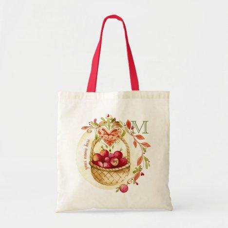 Vintage Watercolor Apple Basket Fall Wreath Heart Tote Bag