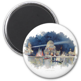 Vintage Watercolor At Night in the Grand Court 2 Inch Round Magnet