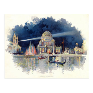Vintage Watercolor At Night in the Grand Court Postcard