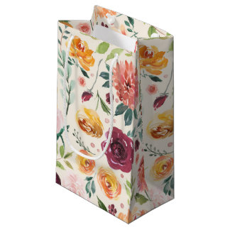 Vintage Watercolor Autumn Blooms Floral Pattern Small Gift Bag