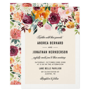 Vintage Watercolor Autumn Blooms Floral Wedding Card