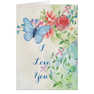 Vintage Watercolor Butterfly Print, I Love You Card