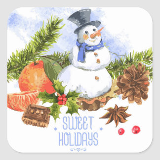 Vintage Watercolor Christmas Square Sticker