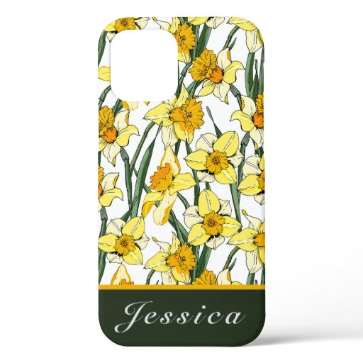 Vintage Watercolor Daffodils Floral Pattern   iPhone 12 Pro Case