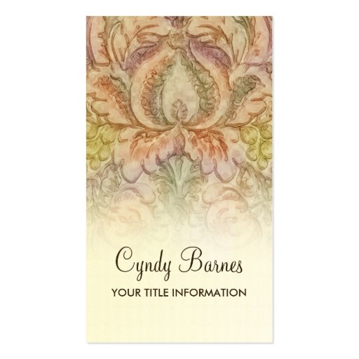 Vintage Watercolor Damask Business Card