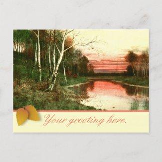 Vintage Watercolor Fall Landscape Scene postcard
