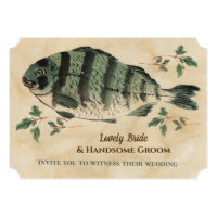 Vintage Watercolor Fish Wedding Invitation