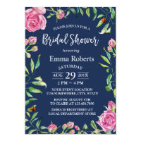 Vintage Watercolor Floral Navy Blue Bridal Shower Invitation